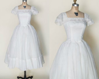 1950s Tea Length Wedding Dress --- Vintage White Full Skirt Wedding Dress