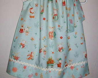Pillowcase Dress with Bunnies Easter Dress Bunny Tales by Studio E Pale Aqua Blue Spring Dress with Bunny Rabbits Spring Fashion