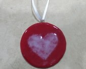 Glass Heart Ornament, Red Heart Christmas Ornament, Red and White Glass, Fused Glass Ornament, Ready to Ship- Heart Ornament -17-6