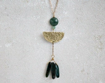 Tribal half moon necklace, brass and forest green moss agate, lunar phase necklace