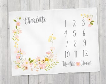 Baby Month Milestone Blanket- Blossom - Girl - Personalized Baby Blanket - Track Growth and Age - New Mom Baby Shower Gift  30x40