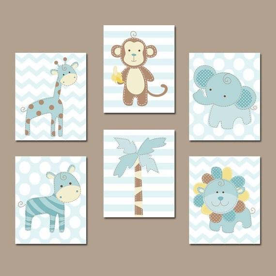 Jungle Wall Art Nursery : Safari animals wall art baby boy nursery canvas or