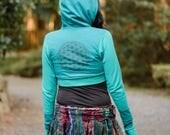 Crop Hoodie - Festival hoodie - Hippie Hoodie - Womens Hoodie - Sacred Geometry Hoodie - Hippie Top - Boho Top - Womens Top - Flower of Life