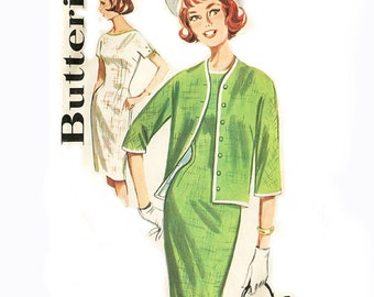 1960s Sheath Dress and Jacket  - Butterick 2180 - Contrast Binding - Vintage Sewing Pattern - Size 16 / Bust 36 Uncut