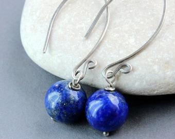 Blue Lapis Lazuli Earrings Oxidized Silver December Birthstone Earrings Everyday Jewelry   Gem Jewelry Handmade  Accessories