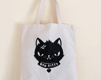 Bad Kitty TOTE - Tote Bag - Kitty CAT Totebag Purse