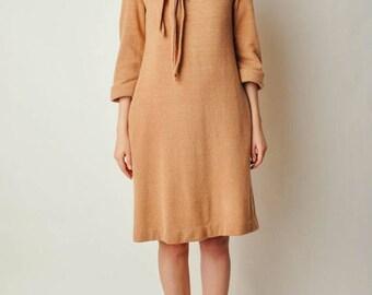 ON SALE Vintage Camel Sweater Dress