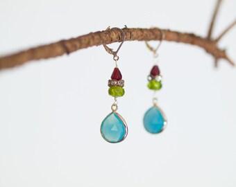 Statement Earrings Dangle Earrings Colorful Earrings Romantic Drop Earring Valentine Gift for Wife Gift for Her Gift for Bride Gift under 50