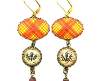 Scottish Tartan Jewelry - Ancient Romance Series - MacMillan Clan Tartan Earrings w/Thistle Charms & Coral Red Swarovski Crystals