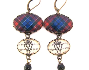 Scottish Tartan Jewelry - Ancient Romance Series - Patterson Clan Tartan Earrings w/Luckenbooth Charms & Mystic Black Swarovski Crystals