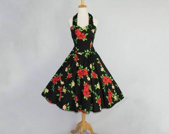 Vintage 80s 1950s Style HAWAIIAN BOMBSHELL Halter Circle Sun Dress