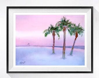 Evening Beach Art Original Original watercolor painting Sandy Beach decor wall hanging Palm trees wall art Tree artwork Pink painting 10 x14
