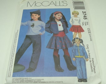 McCall's Children's And Girls' Unlined Jacket, Top, Pants And Skirt Pattern 3745 Size 3, 4, 5, 6 Top For Stretch Knits Only