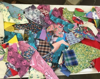Lot of Vintage Feedsack and Cotton Prin Fabric Quilt Scrap Pieces