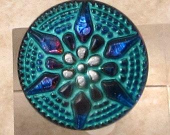 Czech Glass Button, Turquoise, Purple Vitrail Star, 18mm With Pendant Converter C463