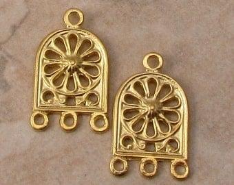 Greek Earring Connector, Chandelier, Brass, Gold, 2 Pieces, M461