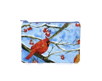 Cardinal Zipper Pouch / Cute Camera Bag Pouch in Red Birds and Berries