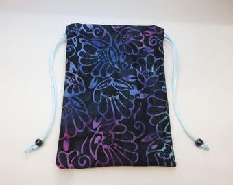 """Blue and Pink Batik, Silk Lined Handmade Tarot Card Pouch, Tarot Card Bag 5"""" x 7"""""""