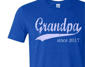 Grandpa since, custom mens t shirt, gift ideas for men, father's day gift, personalized t shirt, pregnancy announcement, grandfather gift