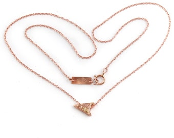 14k Rose Gold  Arrowhead Choker | Rose Gold Choker Necklace