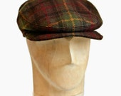 Men's Driving Cap in Autumn Plaid - Men's Flat Cap - Men's Hat