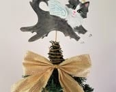 Gray Cat Tree Topper - Cat Angel Topper - Mini Tree Topper - Cat Tree Topper - Cat Memorial - Cat Christmas Decorations ~ Gray Tuxedo Cat