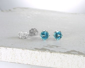 Silver Blue Topaz Stud Earrings Genuine Paraiba Blue Topaz Earrings Blue Topaz Gemstone Stud Earring Genuine Blue Topaz Holiday Gift For Her