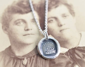 ship wax seal necklace pendant - FRIENDship necklace - rebus ship pendant - friendship gift - silver Victorian era wax seal jewelry