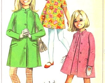 Lined Coat with Stand Up Collar and Dress Size 14 Simplicity 7569 Vintage Sewing Pattern