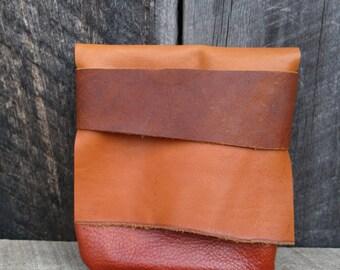 Earth Orange Light Traveler Eco Leather Pouch