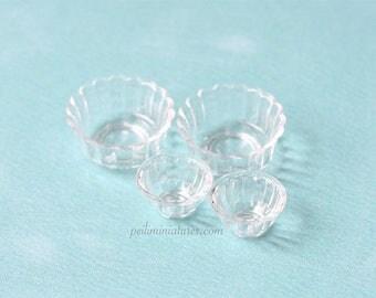 Dollhouse Miniature Plastic Ruffle Rim Bowls - Kitchen Accessories in 1/12 Scale