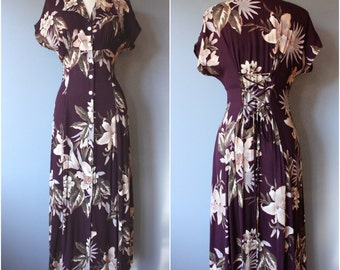 vintage corset dress sz 8 / burgundy floral dress / 90s rayon floral dress