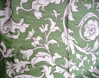 "Green Botanical Fabric Sample - 100% Cotton - Classical Floral Print - Home Decor Sewing Fabric - Moire Design - UK Fardis Benodel 26"" x 26"""