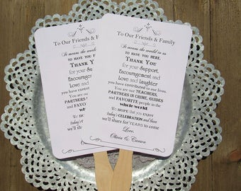 Wedding Hand Fans - Wedding Ceremony Fan - Personalized Hand Fans - Wedding Fans - Wedding Favor Fans - Friends and Family Poem