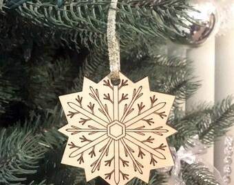 Snowflake Christmas Ornament, Essential Oil Ornament, Christmas Decoration, Christmas Tree Ornament, Wood Snowflake, Holiday Decoration
