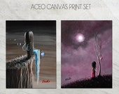 ACEO Art Cards - Only 1 Set - ACEO canvas prints - Hand Embellished & Signed by Artist