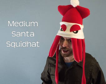 Christmas Squid Hat Plush Fleece Medium Santa