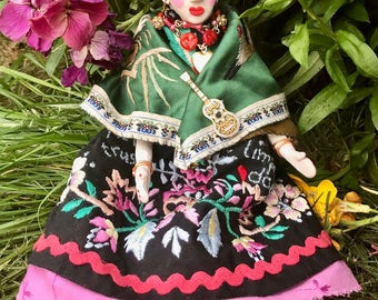 Lilygrace OOAK Frida with Roses Doll with Upcycled Embroidered fabric and Silk Shawl
