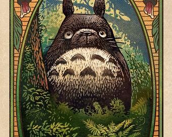 "Totoro Matchbox Art- 5"" x 7"" matted signed print"