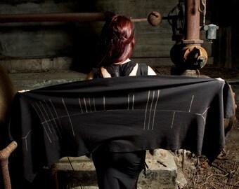 Raven Ogham Celtic Druid Shawl Wrap