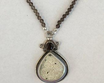 Sterling Silver Druzy and Smokey Topaz Pendant and Smokey Quartz and Swarovski Glass Pearl Necklace