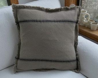 Grain Sack Pillow Custom Sizes Black Stripe Pillow Cover Primitive Throw Pillows Grain Sack Fabric Decorative Pillow French Farmhouse