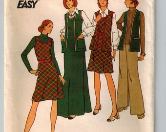 Vintage 70's Misses' Vest Long or Short Jumper & Pants Sewing Pattern A-line Jumper Wide Leg Pants Retro Vest w Patch Pockets Bust 39