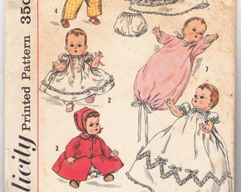 Vintage Sewing Pattern Simplicity 1844 1950's Doll Outfits with Dress, Pajama, Bonnet & Coat