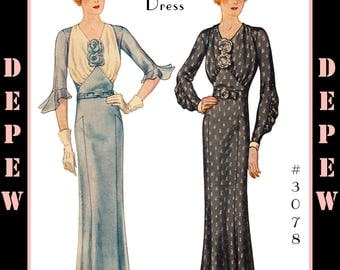 Vintage Sewing Pattern Reproduction Ladies' 1930's Dress #3078 -INSTANT DOWNLOAD PDF