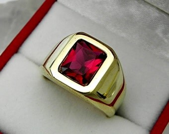 AAAAA RED Rubellite Tourmaline 9x7mm  1.96 Carats   Heavy 14K Yellow gold Emerald cut Mans or GENTS ring 15-16 grams 1721