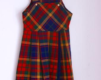 Vintage girls dress plaid jumper size 6 size 7