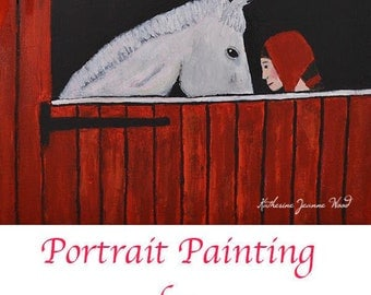 Acrylic Girl & White Horse Painting. Equestrian Red Barn Animal Art Painting. Birthday Gift for Women or Children. Home Wall Art Decor.