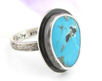 Silver Turquoise Ring - Campitos Turquoise Ring - sterling silver turquoise ring - US size 8 - turquoise ring with pyrite - hammered band