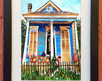 "New Orleans Garden District Shotgun House Art Framed and Matted ""Bloom Street"" Signed and Numbered Print (Three Sizes to Choose From)"